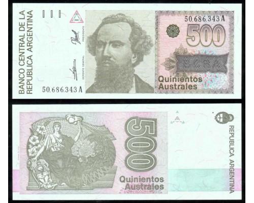БЕЗ СКИДКИ Банкнота 500 аустралей Аргентина 1986-1990 KR