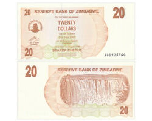 БЕЗ СКИДКИ Банкнота 20 долларов Зимбабве 2006 KR