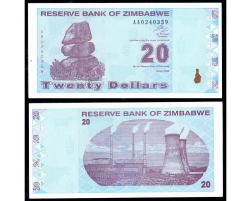 БЕЗ СКИДКИ Банкнота 20 долларов Зимбабве 2009 KR